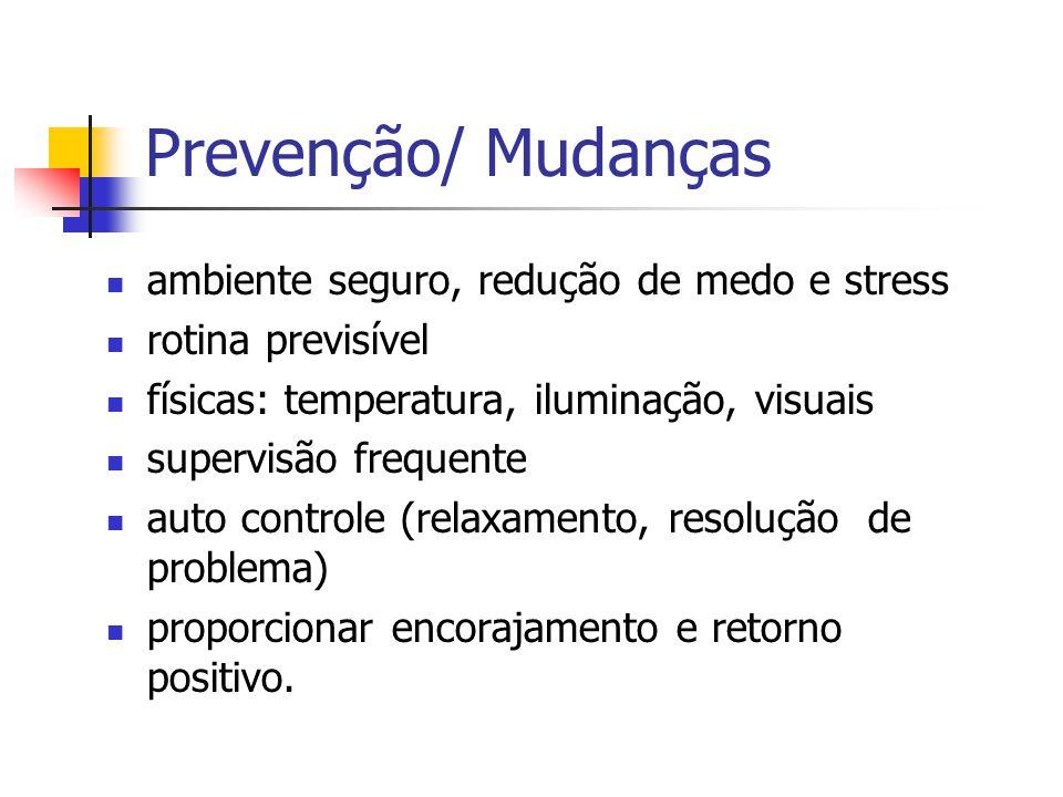 Prevenção/ Mudanças ambiente seguro, redução de medo e stress