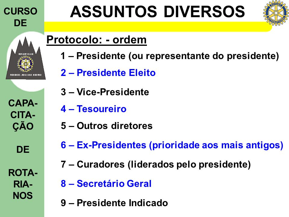 Protocolo: - ordem 1 – Presidente (ou representante do presidente)