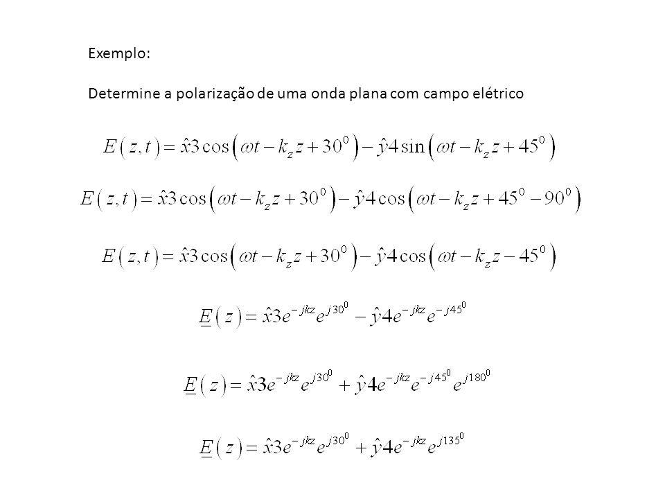 Exemplo: Determine a polarização de uma onda plana com campo elétrico