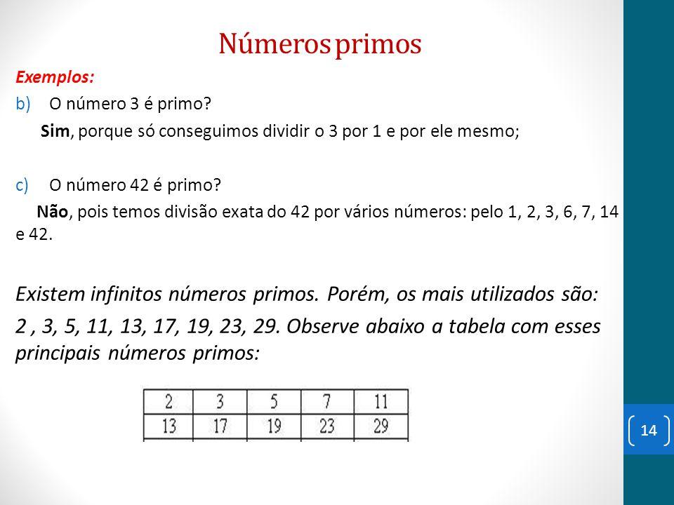 Números primos Exemplos: O número 3 é primo Sim, porque só conseguimos dividir o 3 por 1 e por ele mesmo;