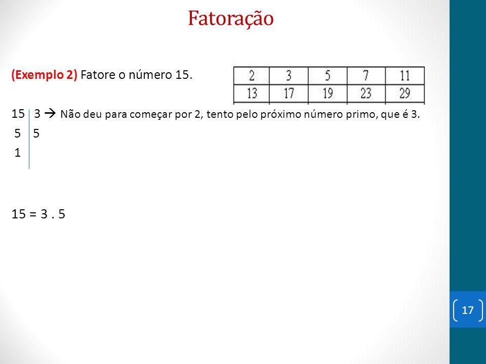 Fatoração 15 = 3 . 5 (Exemplo 2) Fatore o número 15.