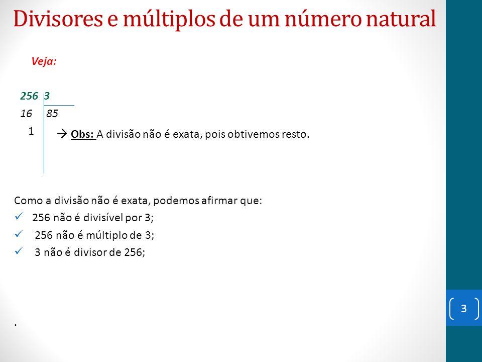 Divisores e múltiplos de um número natural