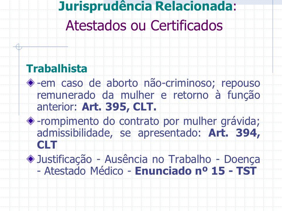 Jurisprudência Relacionada: Atestados ou Certificados