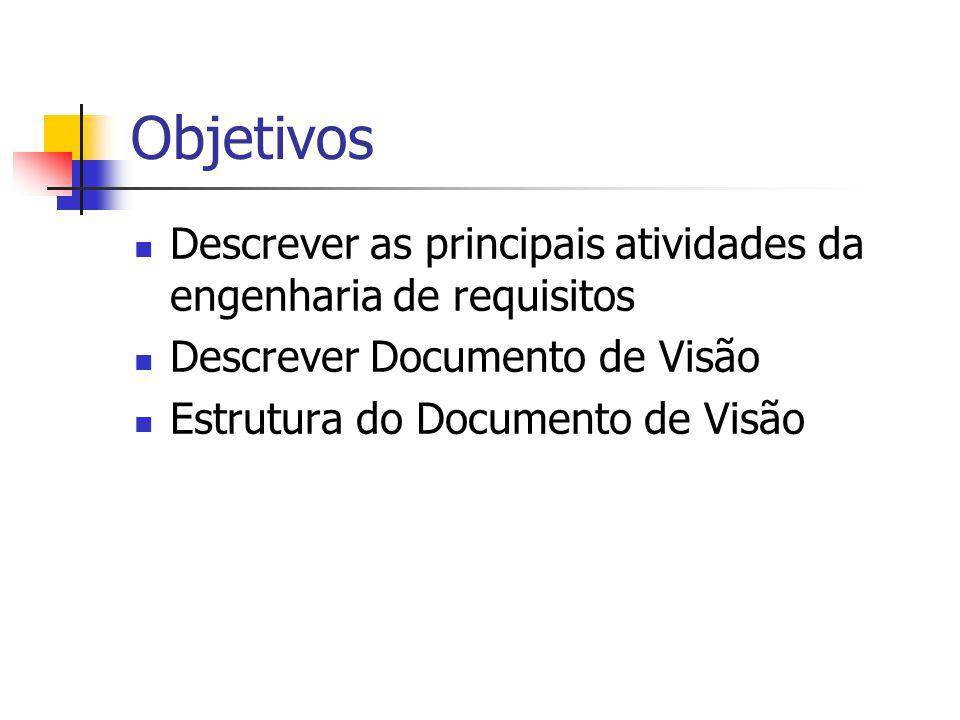Objetivos Descrever as principais atividades da engenharia de requisitos. Descrever Documento de Visão.