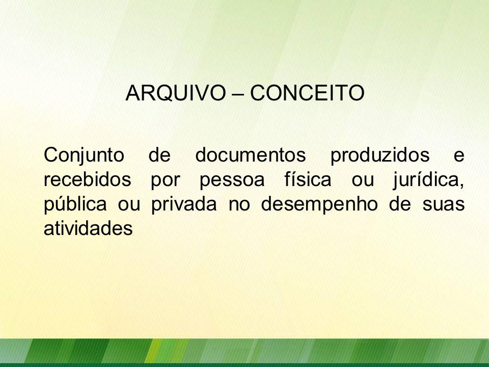 ARQUIVO – CONCEITO Conjunto de documentos produzidos e recebidos por pessoa física ou jurídica, pública ou privada no desempenho de suas atividades.