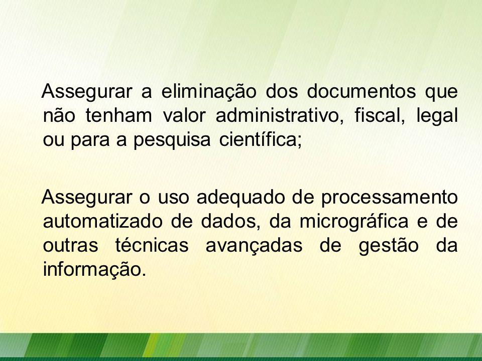 Assegurar a eliminação dos documentos que não tenham valor administrativo, fiscal, legal ou para a pesquisa científica;