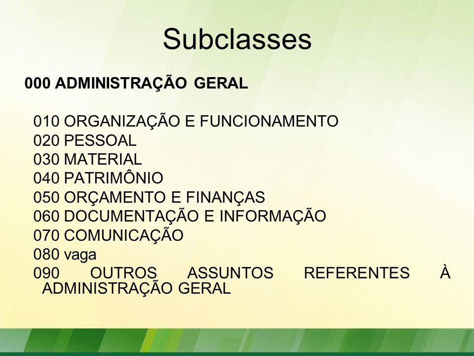 Subclasses 000 ADMINISTRAÇÃO GERAL 010 ORGANIZAÇÃO E FUNCIONAMENTO
