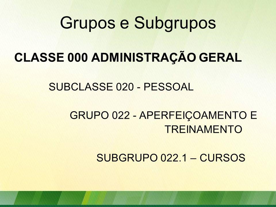 Grupos e Subgrupos CLASSE 000 ADMINISTRAÇÃO GERAL