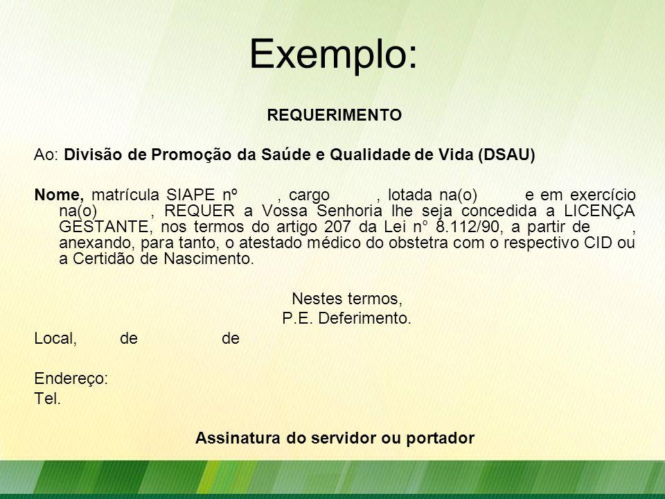 Assinatura do servidor ou portador