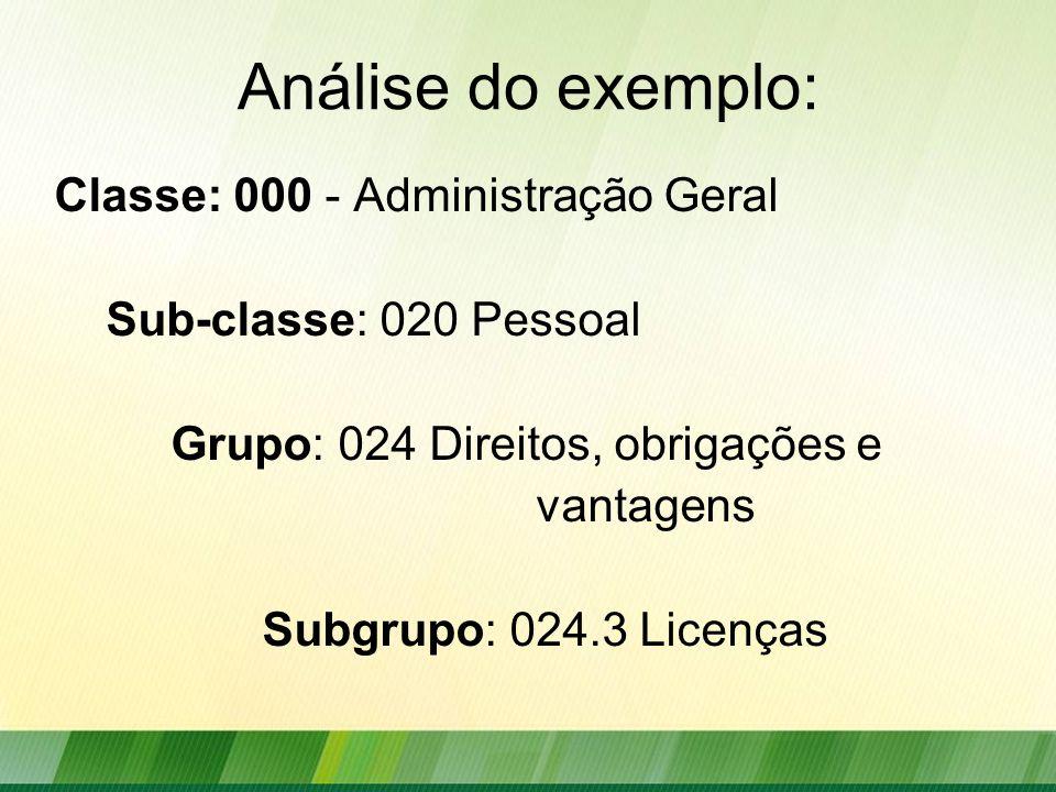 Análise do exemplo: Classe: 000 - Administração Geral