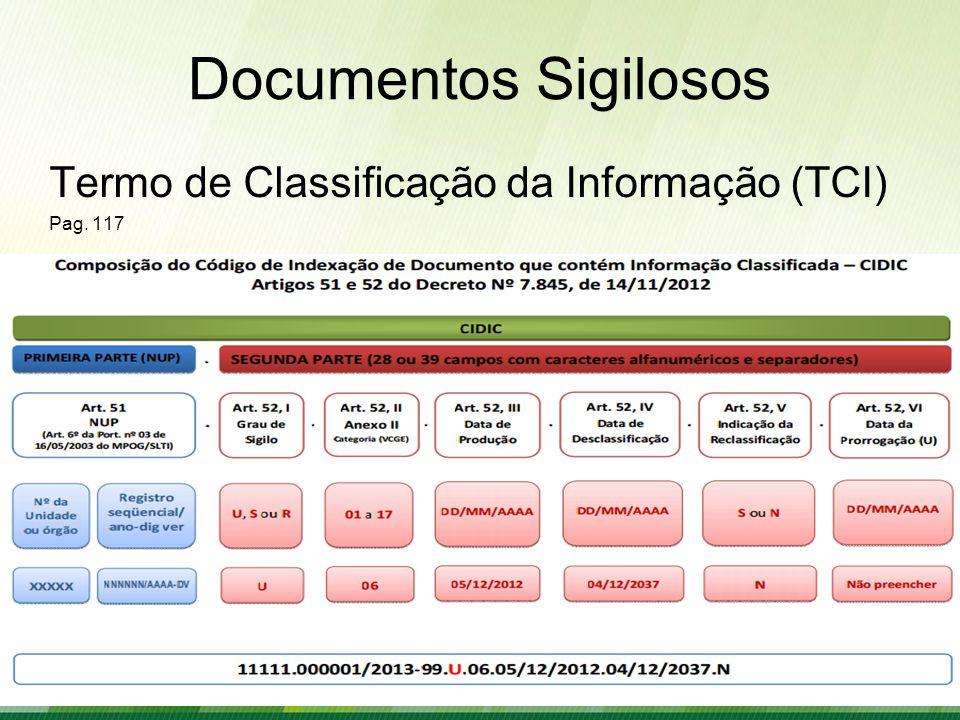 Documentos Sigilosos Termo de Classificação da Informação (TCI)