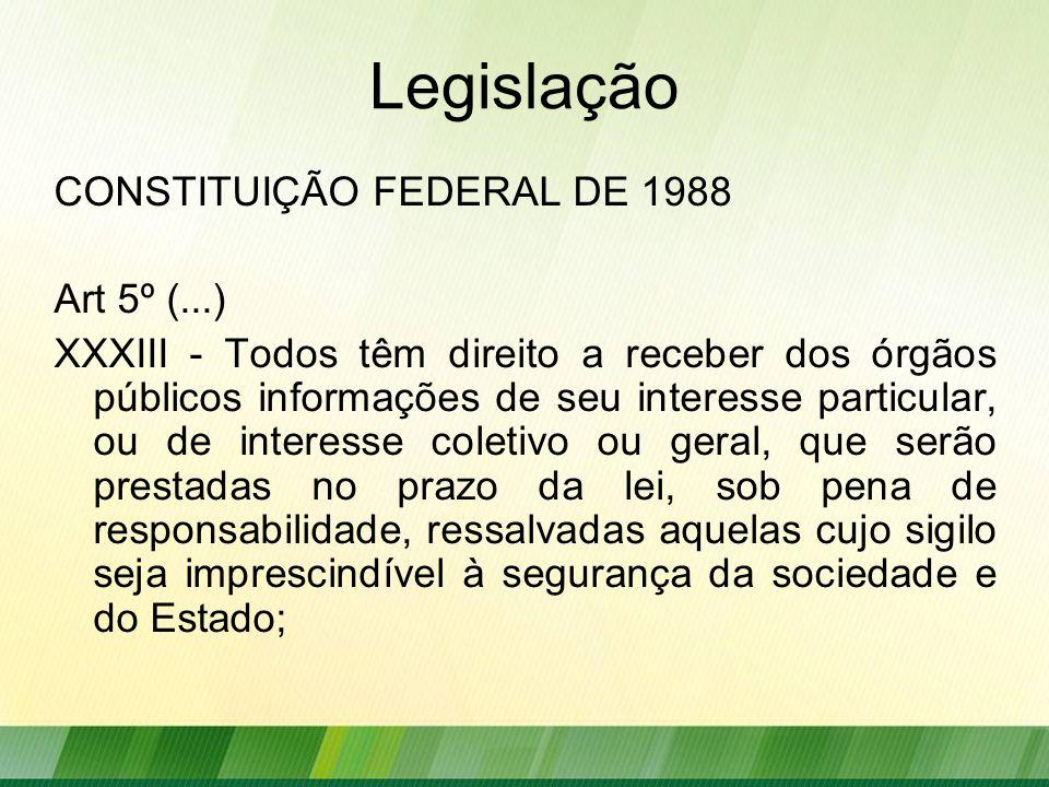 Legislação CONSTITUIÇÃO FEDERAL DE 1988 Art 5º (...)