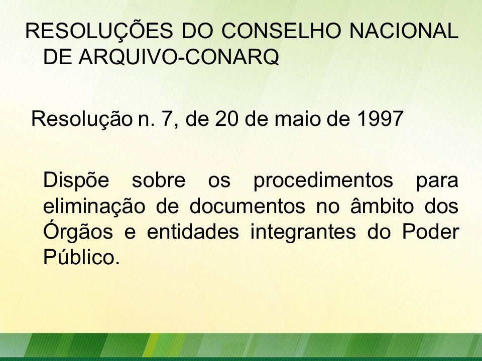RESOLUÇÕES DO CONSELHO NACIONAL DE ARQUIVO-CONARQ