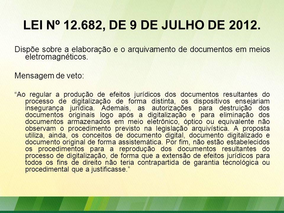 LEI Nº 12.682, DE 9 DE JULHO DE 2012. Dispõe sobre a elaboração e o arquivamento de documentos em meios eletromagnéticos.