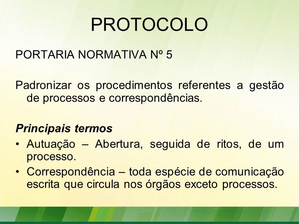 PROTOCOLO PORTARIA NORMATIVA Nº 5