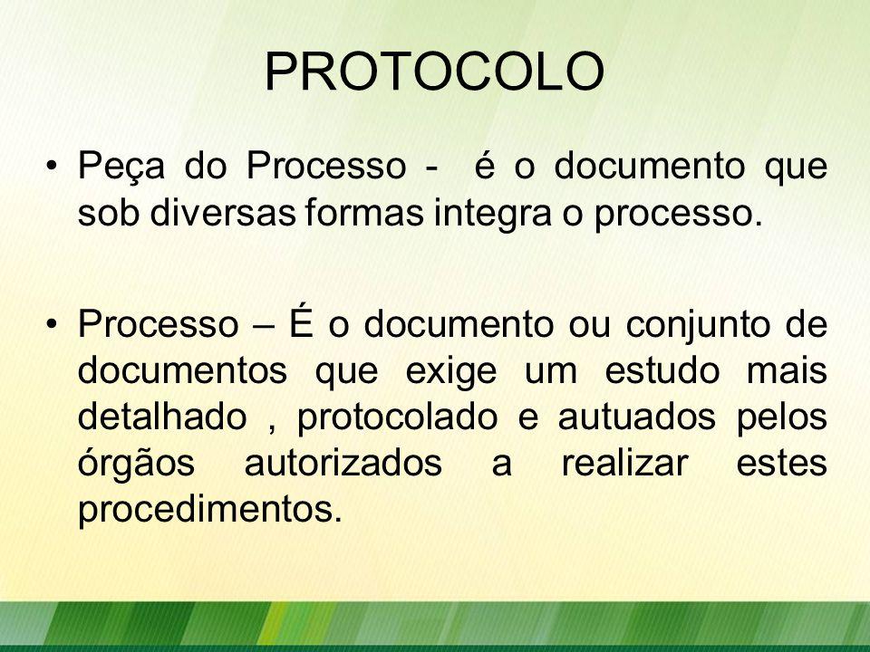 PROTOCOLO Peça do Processo - é o documento que sob diversas formas integra o processo.