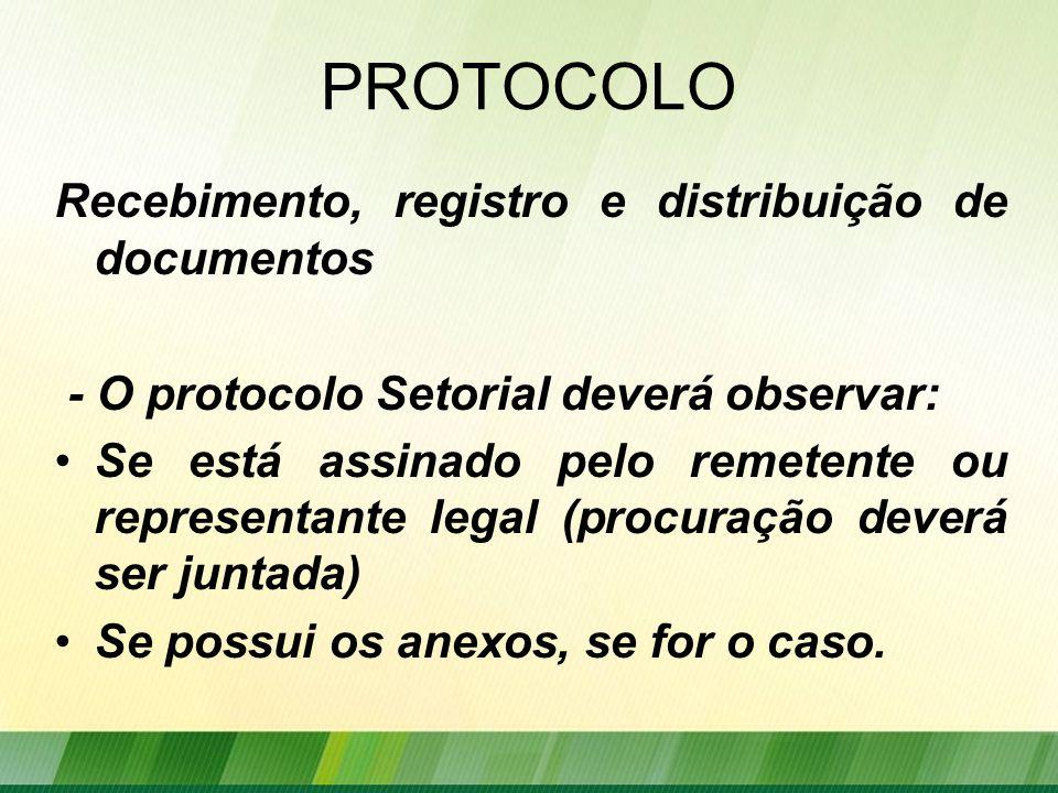 PROTOCOLO Recebimento, registro e distribuição de documentos