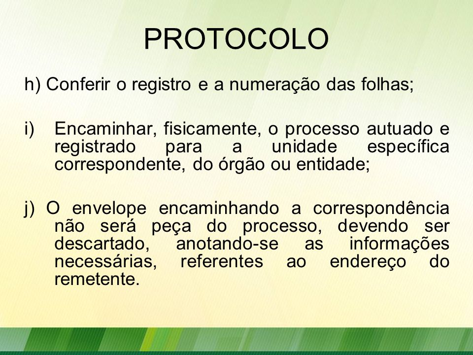 PROTOCOLO h) Conferir o registro e a numeração das folhas;