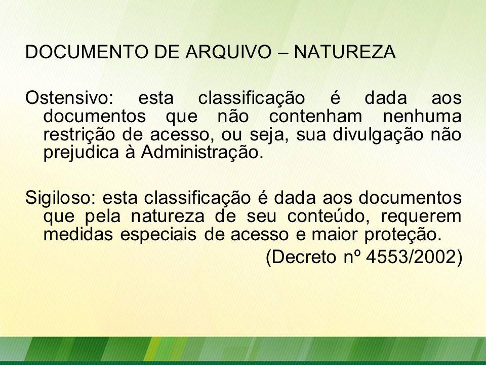 DOCUMENTO DE ARQUIVO – NATUREZA