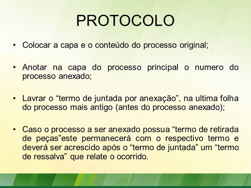 PROTOCOLO Colocar a capa e o conteúdo do processo original;