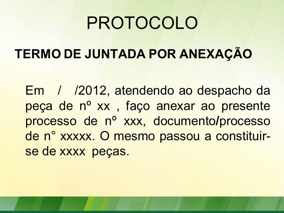 PROTOCOLO TERMO DE JUNTADA POR ANEXAÇÃO
