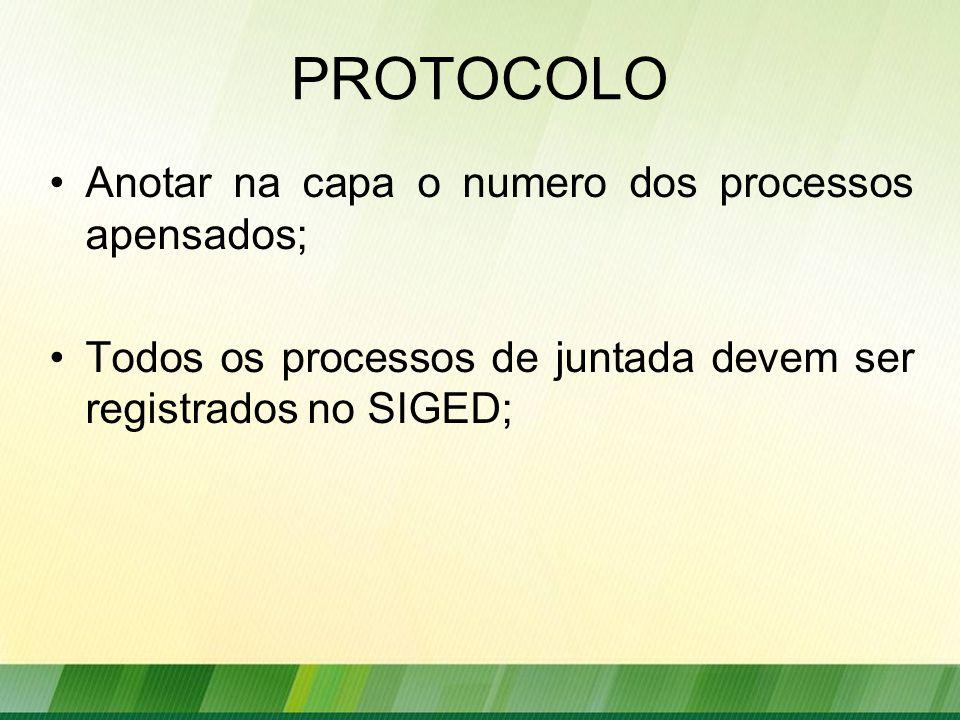 PROTOCOLO Anotar na capa o numero dos processos apensados;