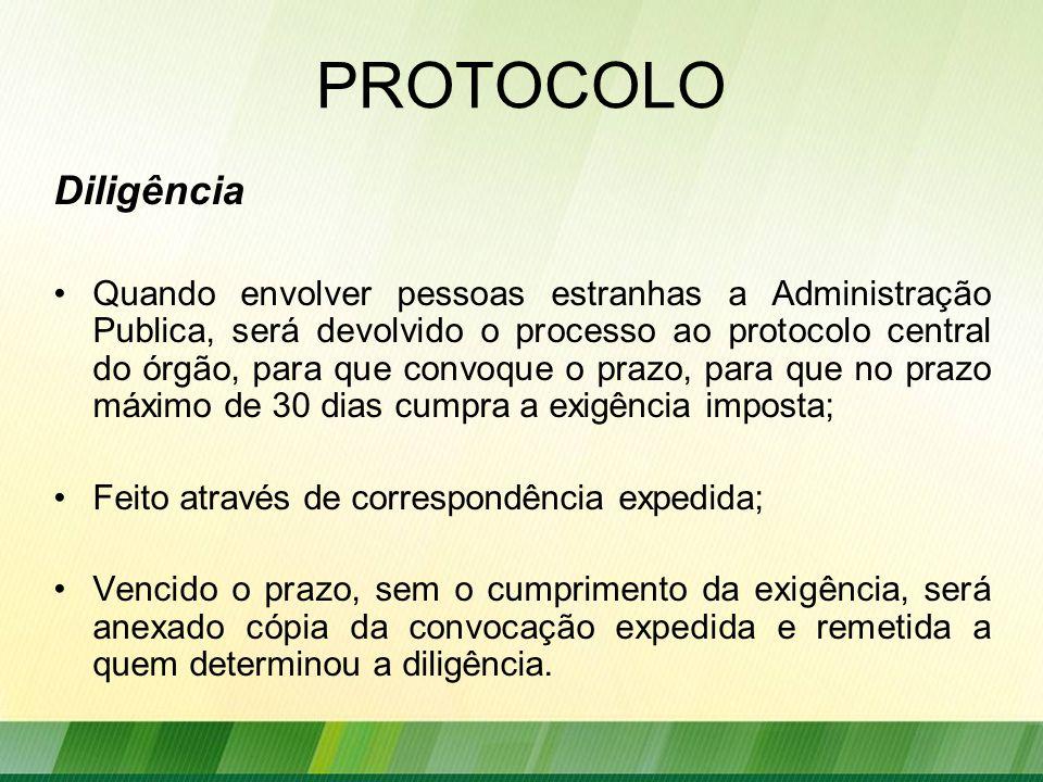PROTOCOLO Diligência.