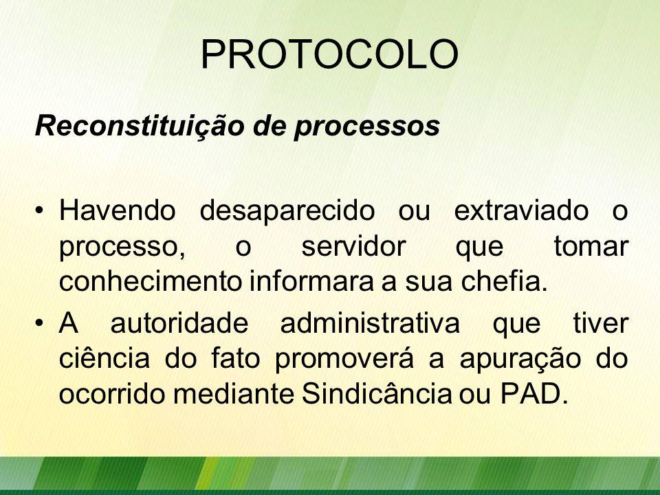 PROTOCOLO Reconstituição de processos