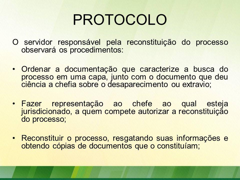 PROTOCOLO O servidor responsável pela reconstituição do processo observará os procedimentos: