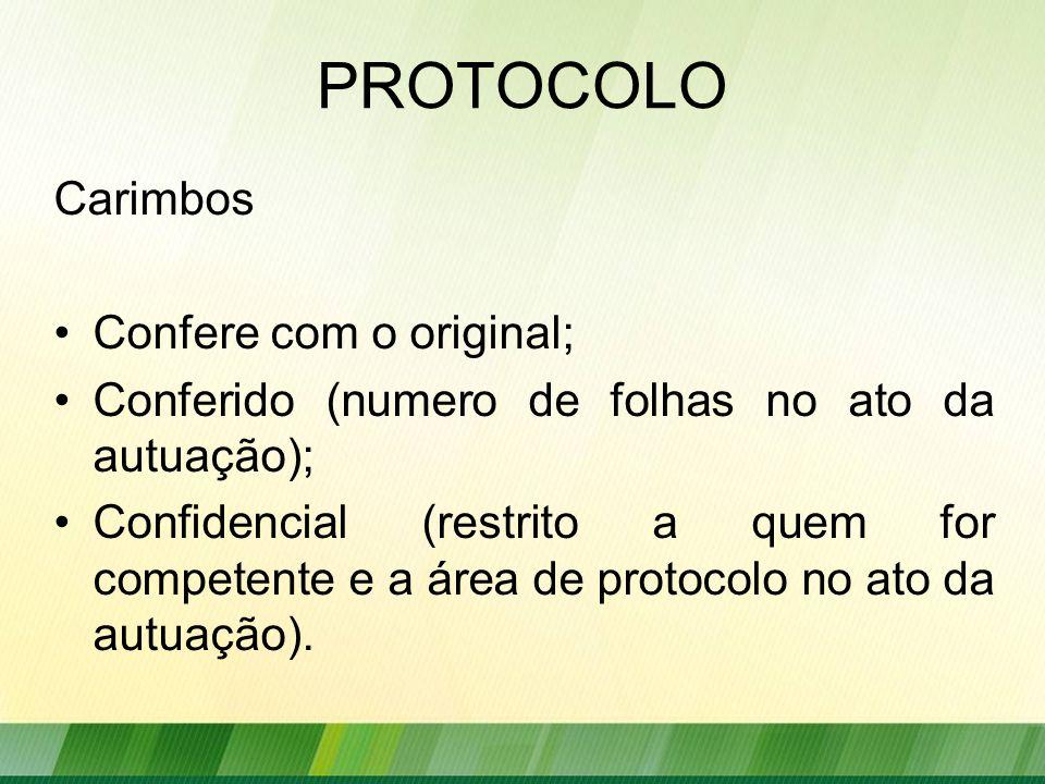 PROTOCOLO Carimbos Confere com o original;