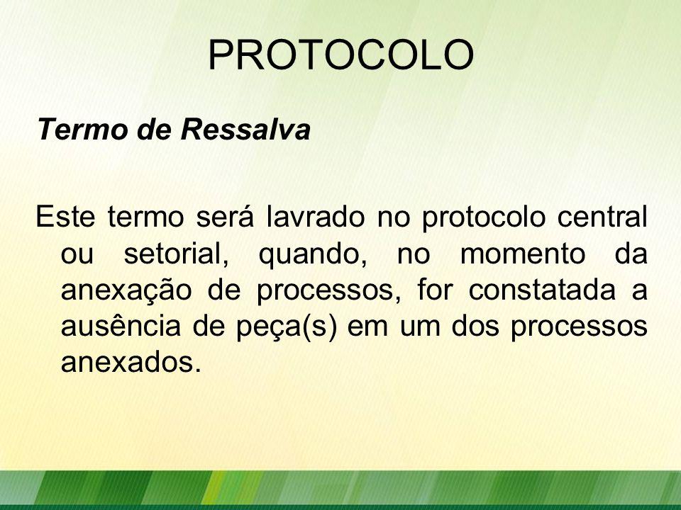 PROTOCOLO Termo de Ressalva