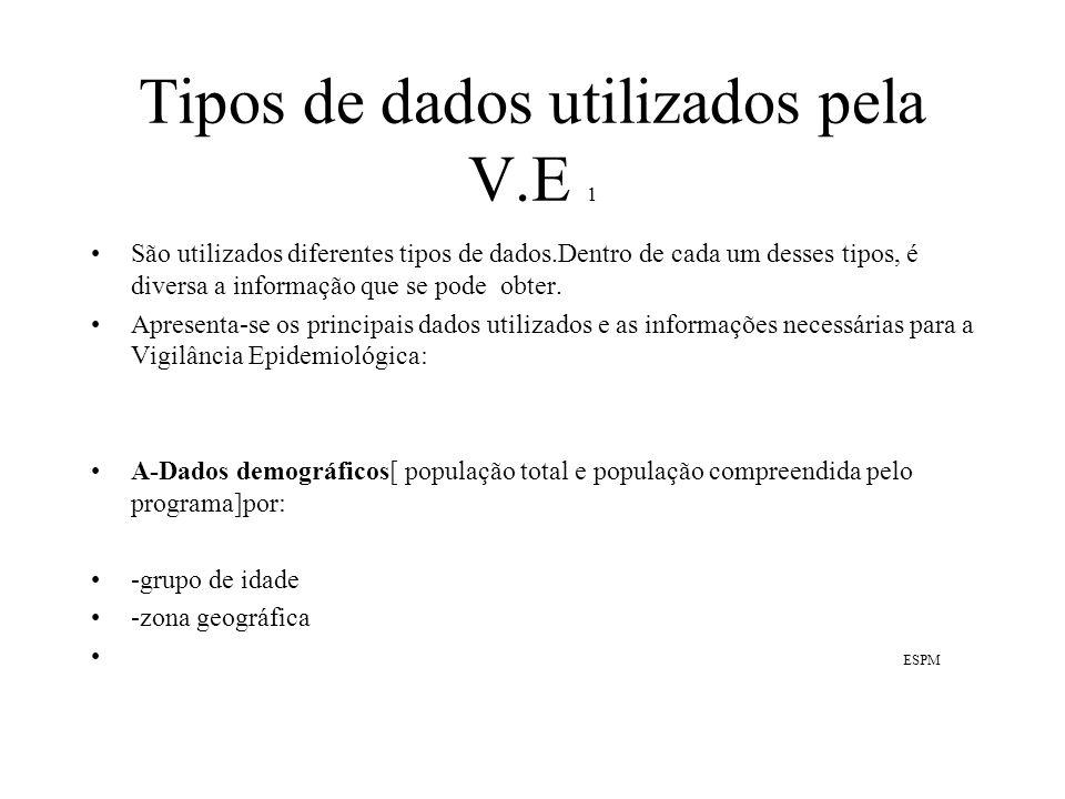 Tipos de dados utilizados pela V.E 1