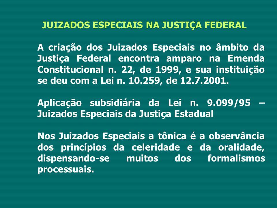 JUIZADOS ESPECIAIS NA JUSTIÇA FEDERAL