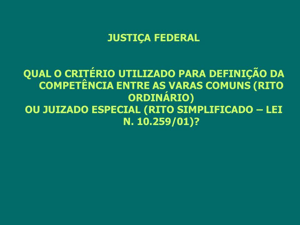 OU JUIZADO ESPECIAL (RITO SIMPLIFICADO – LEI N. 10.259/01)