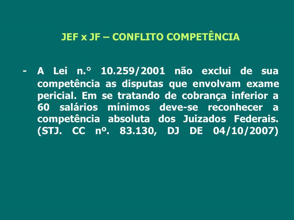 JEF x JF – CONFLITO COMPETÊNCIA