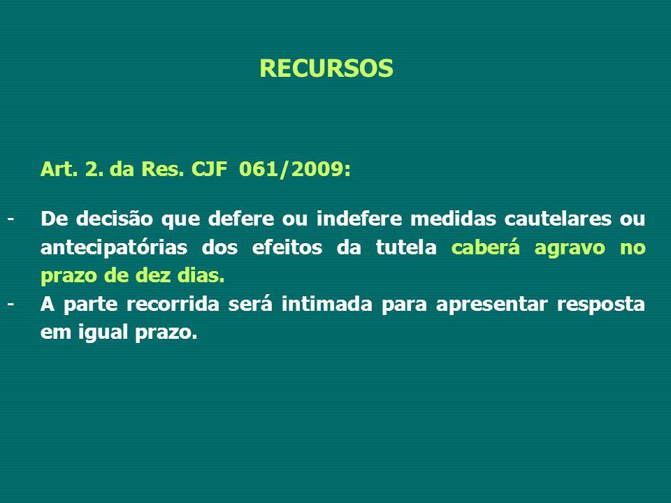 RECURSOS Art. 2. da Res. CJF 061/2009: