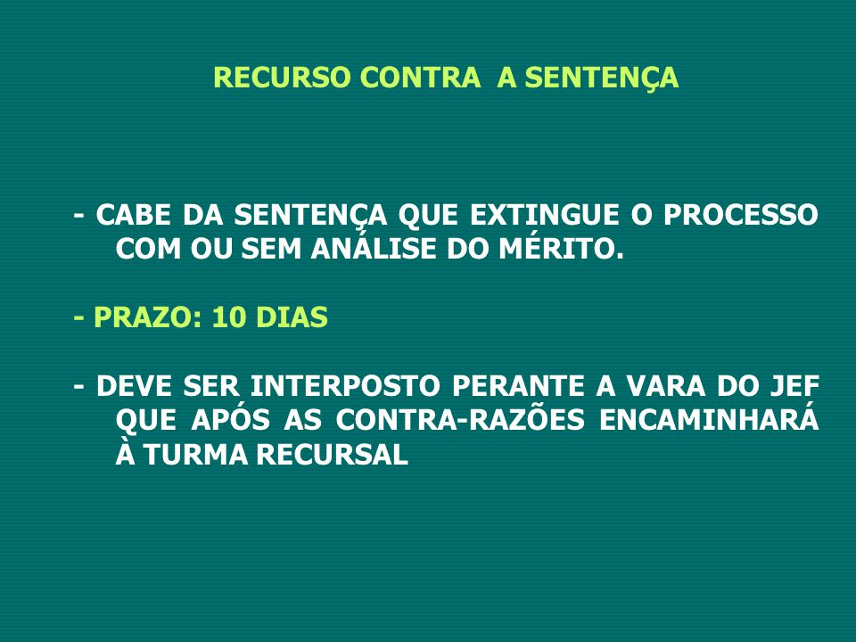 RECURSO CONTRA A SENTENÇA