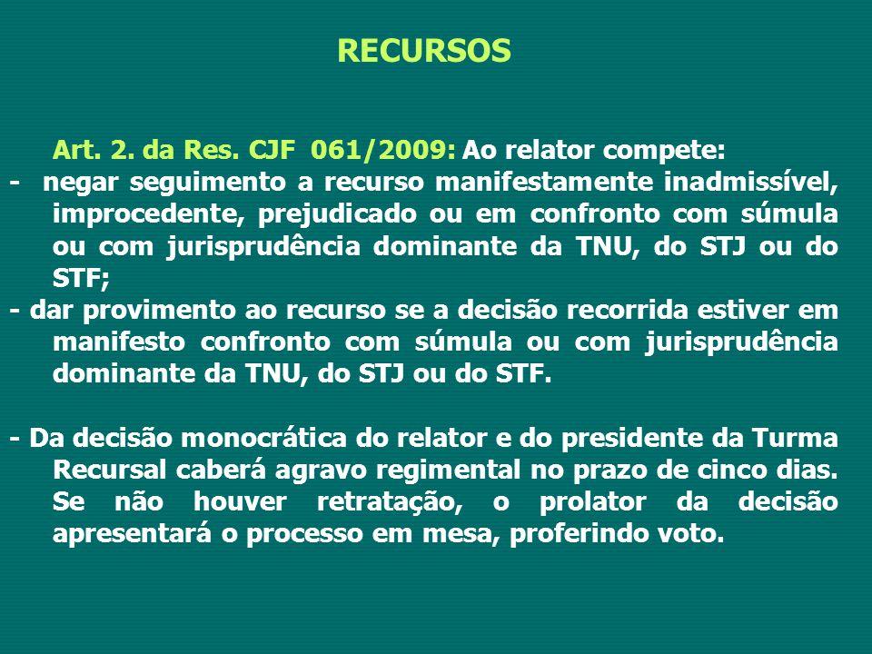 RECURSOS Art. 2. da Res. CJF 061/2009: Ao relator compete: