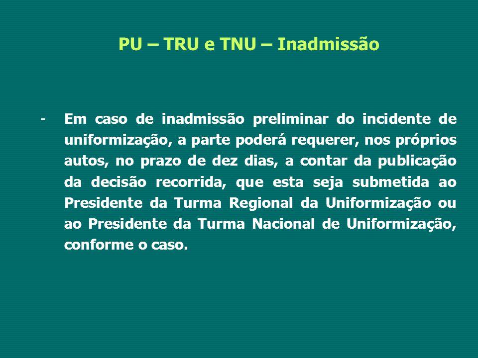 PU – TRU e TNU – Inadmissão