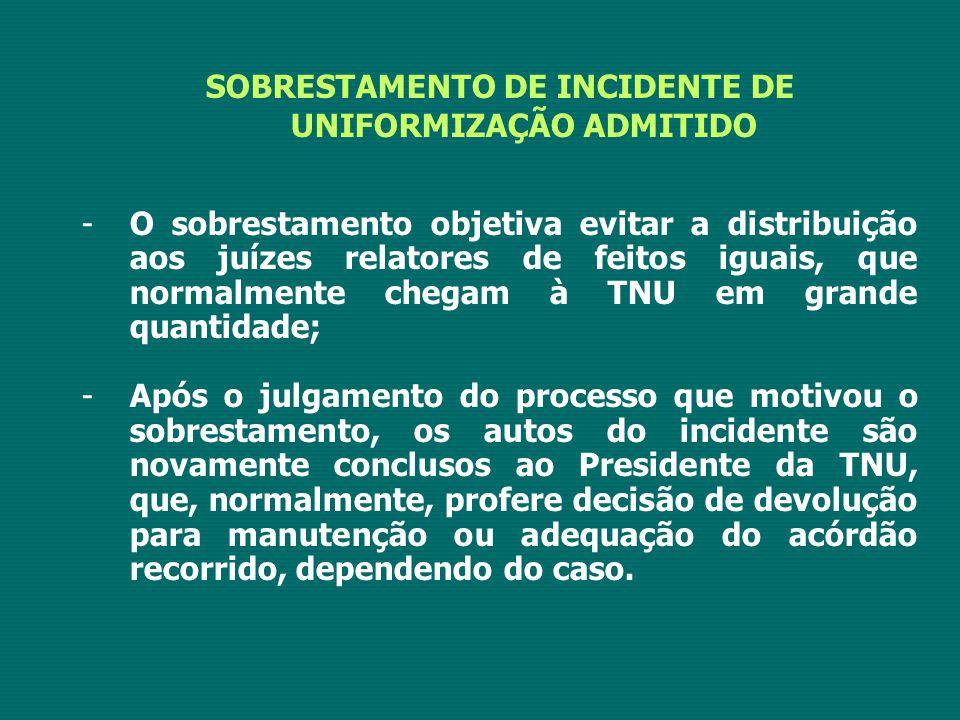 SOBRESTAMENTO DE INCIDENTE DE UNIFORMIZAÇÃO ADMITIDO