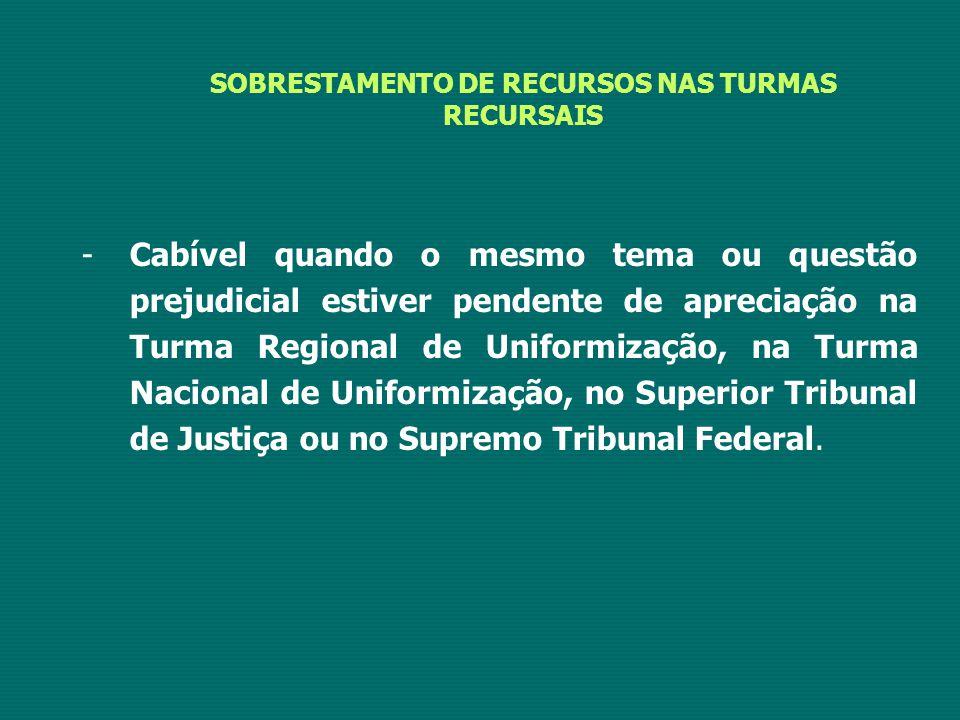 SOBRESTAMENTO DE RECURSOS NAS TURMAS RECURSAIS