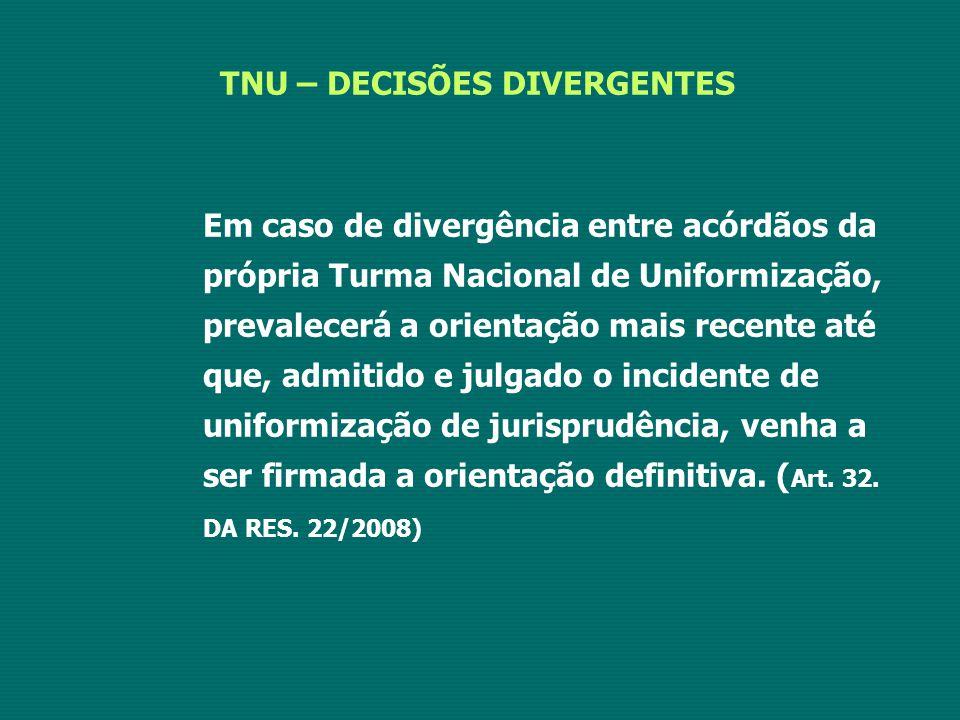 TNU – DECISÕES DIVERGENTES