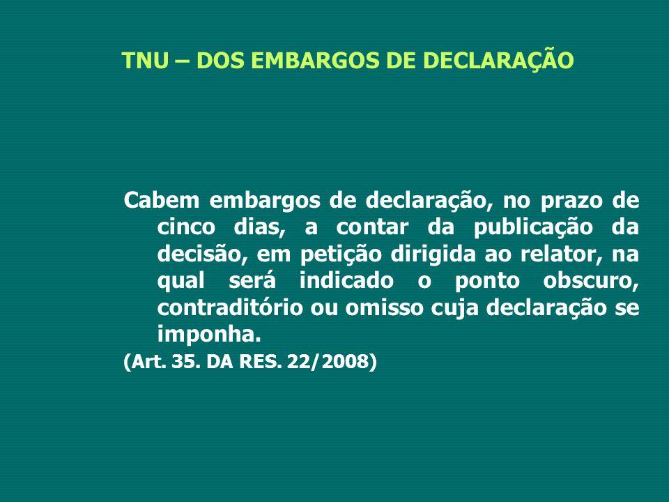 TNU – DOS EMBARGOS DE DECLARAÇÃO