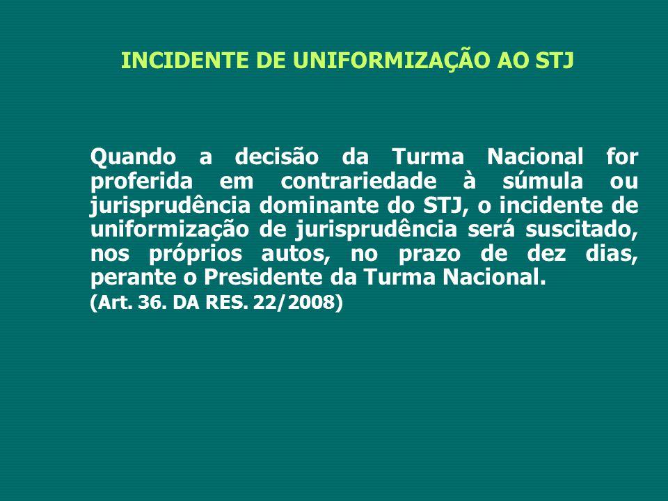 INCIDENTE DE UNIFORMIZAÇÃO AO STJ