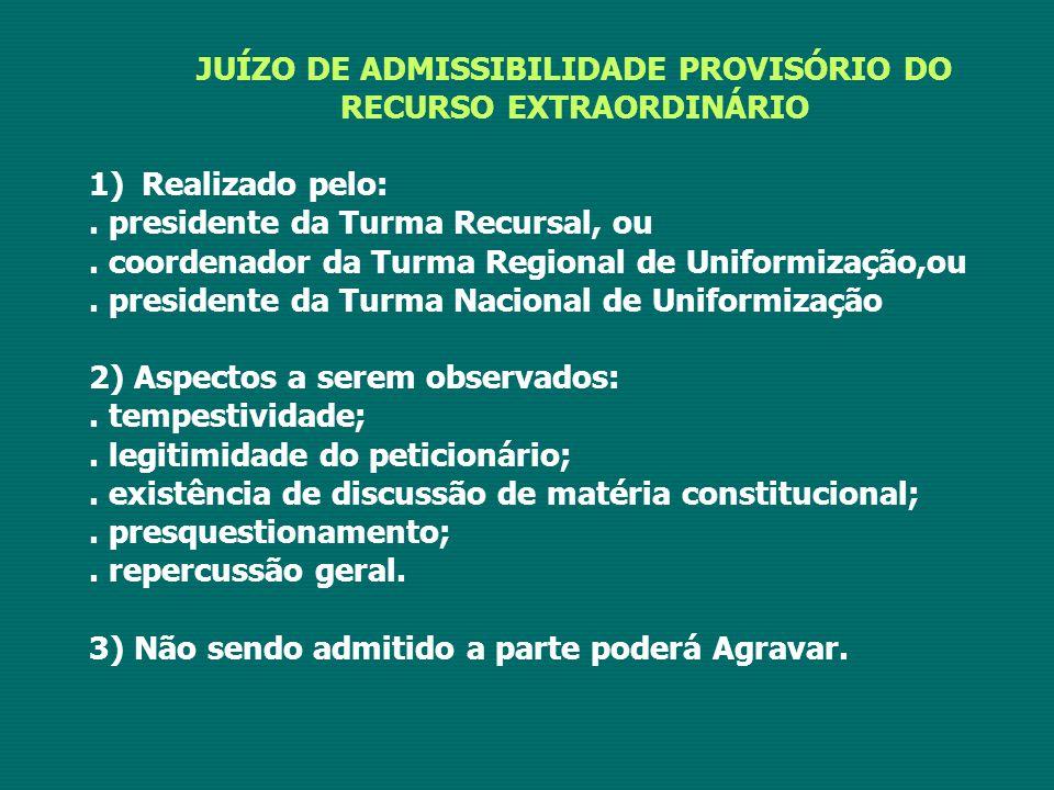 JUÍZO DE ADMISSIBILIDADE PROVISÓRIO DO RECURSO EXTRAORDINÁRIO