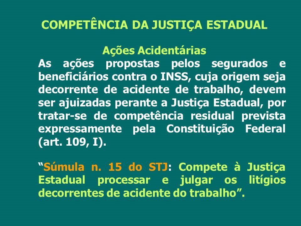 COMPETÊNCIA DA JUSTIÇA ESTADUAL