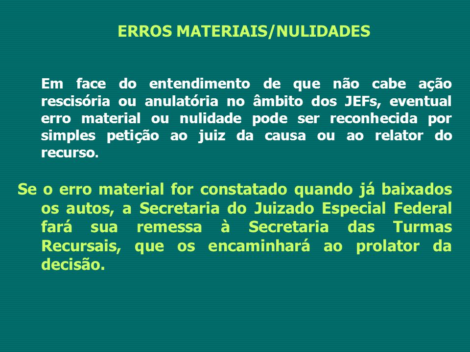 ERROS MATERIAIS/NULIDADES