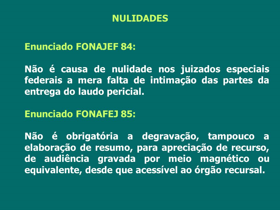 NULIDADES Enunciado FONAJEF 84: