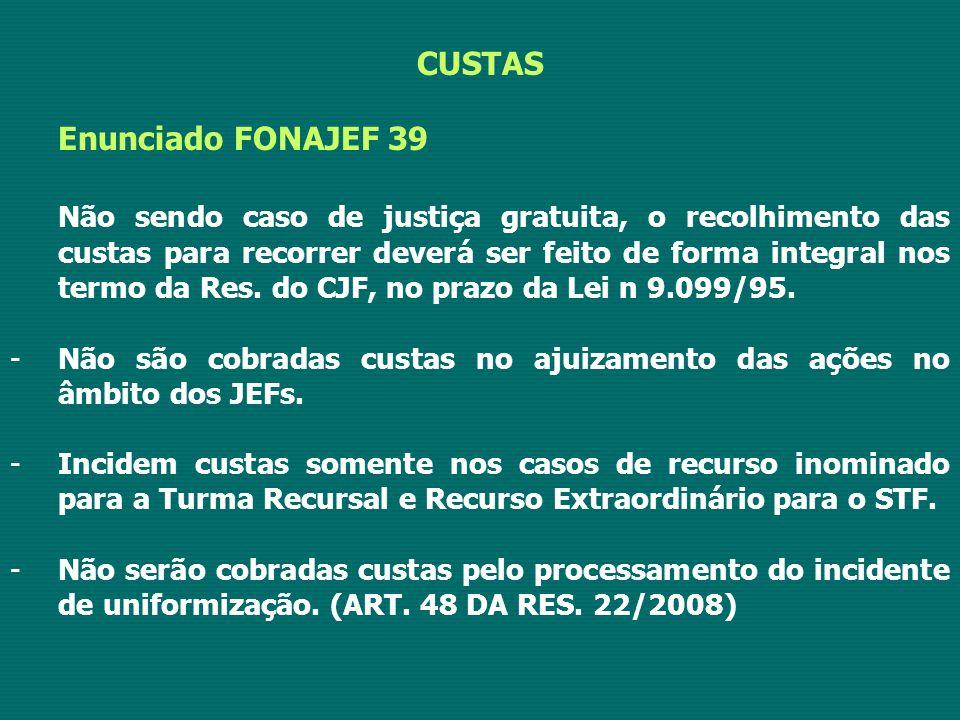 CUSTAS Enunciado FONAJEF 39