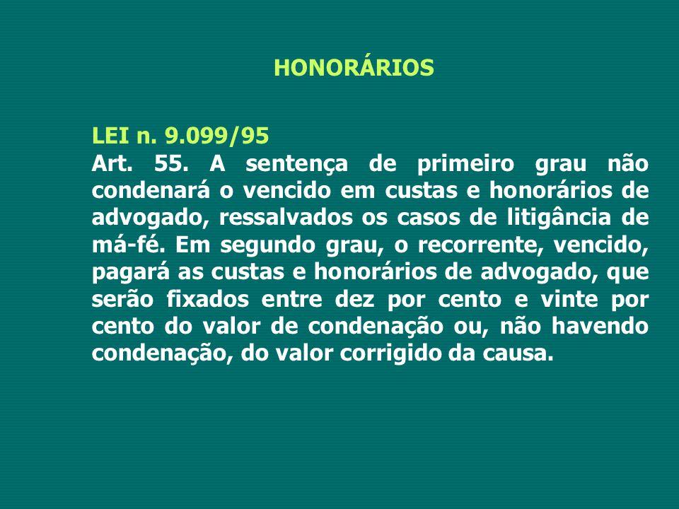 HONORÁRIOS LEI n. 9.099/95.